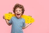 Cheerful boy with yellow longboard - 171421337