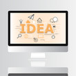 Idea icon on monitor infographic and illustration design - 171421530