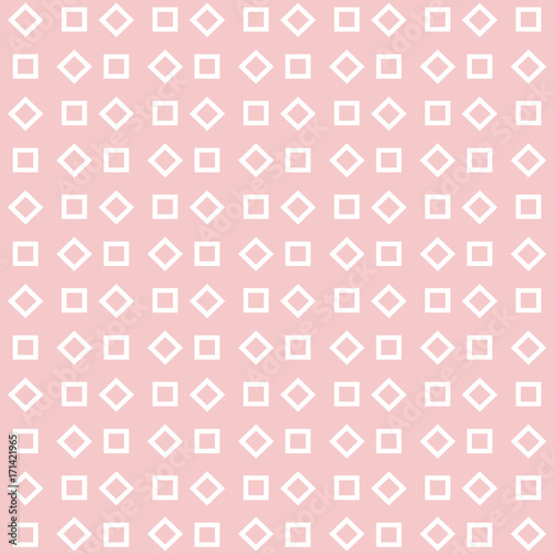 White rectangle geometry repeating seamless pattern design on pink background - 171421965