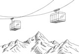 Cable car graphic mountain black white landscape sketch illustration vector - 171422141
