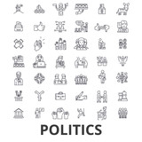 Politics, politician, vote, election, campaign, government, political party line icons. Editable strokes. Flat design vector illustration symbol concept. Linear signs isolated on white background - 171425770