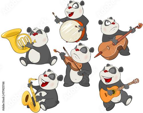 Staande foto Kinderkamer Set Cartoon Illustration. A Cute Panda Bear for you Design