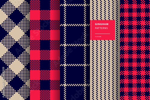Gingham plaid seamless pattern set - 171426509