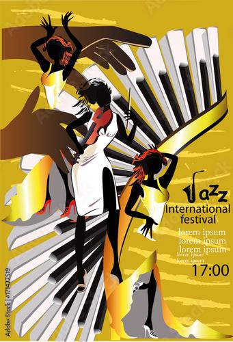 jazz-poster-mit-musikern-und-musikinstrumenten-hand-gezeichnete-vektorabbildung