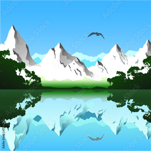 Foto op Aluminium Blauw Lake and snow mountains
