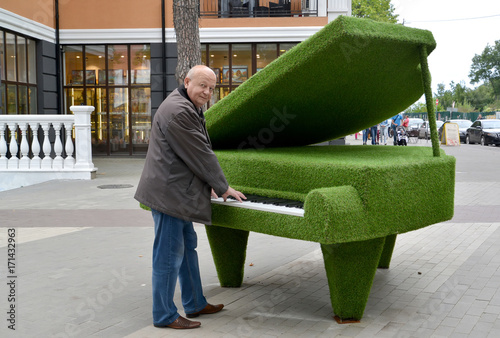 "The man stands near a topiarny sculpture ""Grand piano"" Poster"