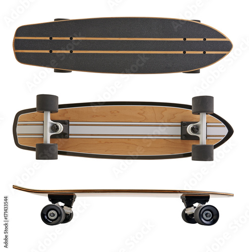 Fotobehang Skateboard Black and wooden skate board isolated