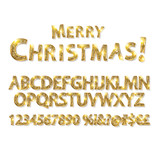 Merry Christmas with Golden Letters and Numbers
