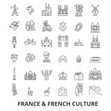France, eiffel tower, french, france flag, Europe, Paris, parisian, triumphal line icons. Editable strokes. Flat design vector illustration symbol concept. Linear signs isolated on white background