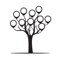 Black Tree with Borders Vector Illustration.