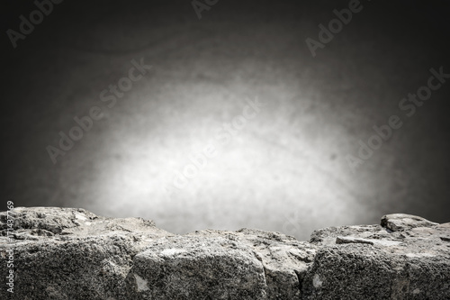 Fotobehang Stenen rock table background and gray dark wall space