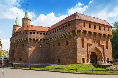 Foto op Plexiglas Krakau Ancient fortress. Barbican in the Polish city of Krakow.