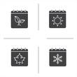 Seasons calendar glyph icons set