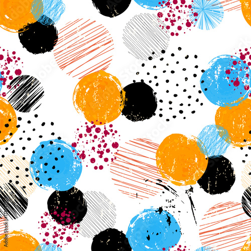 Fotobehang Abstract met Penseelstreken seamless polka dots background pattern,vector, strokes and splashes