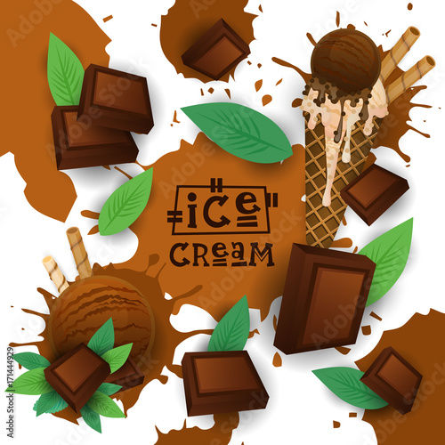 Ice Cream With Chocolate Taste Dessert Colorful Poster Vector Illustration