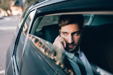 Fototapety Business executive travelling by car and making phone call