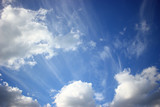 A view of the beautiful white clouds in the blue sky, in the morning, The sun, Fresh air.