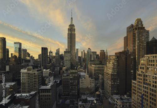 Papiers peints New York Manhattan skyline at sunset