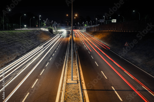 Foto op Aluminium Nacht snelweg Trails