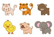 cute animals icons over white background colorful design vector illustration