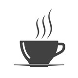 Coffee cup icon - simple flat design isolated on white background, vector