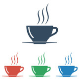 Coffee cup icon set- simple flat design isolated on white background, vector