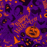 Haloween Seamless Pattern in cartoon style. Black sketches characters. Grave, ghost, pumpkin, cat, bat, castle holiday doodles. Hand drawn vector illustration. Horror background.