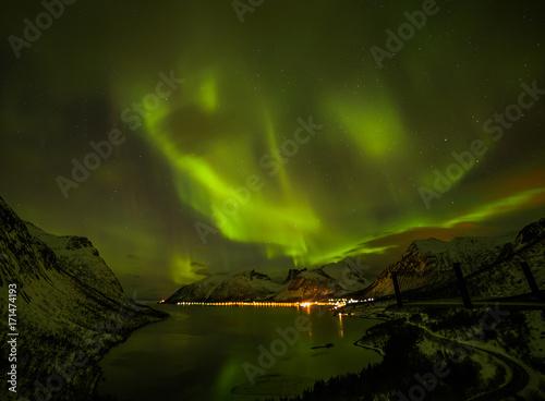Aluminium Noorderlicht Aurora borealis (Polar lights) over the mountains in the North of Europe - Senja Island, Troms, Norway