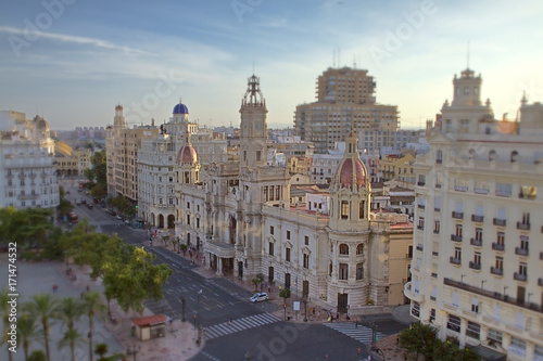 Tilt shift effect in the square of the city hall of Valencia.