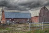 Horse Barn Against Fall Skies - 171475775