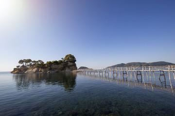 Wooden bridge to Cameo island