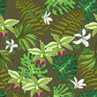 Seamless vector pattern of exotic vector drawn flowers and leaves. Tropical background.