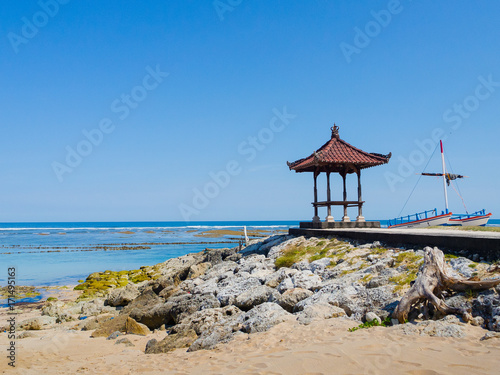 Fotobehang Bali Beautiful sunny day with a small cabain in the beach of Pantai pandawa, in Bali island, Indonesia