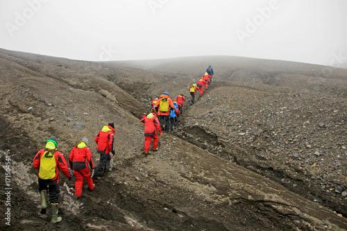 Fotobehang Antarctica Group of people hiking at Deception Island, Antarctic Peninsula, Antarctica