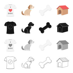 I love dogs, the puppy sits, a bone, a dog's booth.Puppy set collection icons in cartoon black monochrome outline style vector symbol stock illustration web.