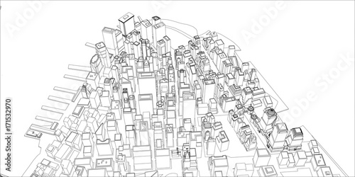 In de dag Art Studio Wire-frame New York City, Blueprint Style