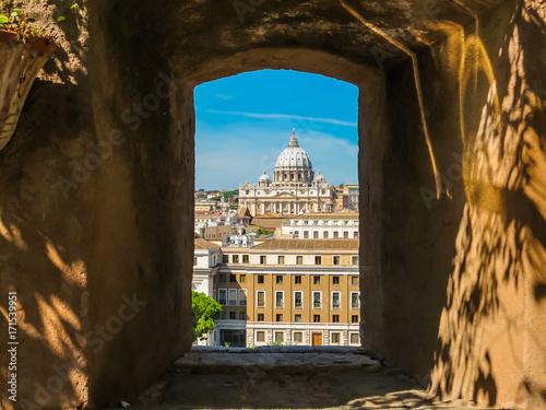Foto op Plexiglas Rome Window overlooking Vatican and Rome. Rome, Italy