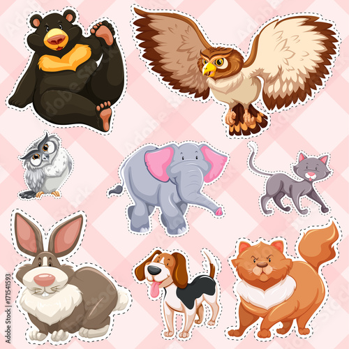 Wall mural Sticker design for wild animals on pink background