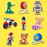 Sticker Set  Toys On Yellow  Wall Sticker