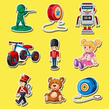 Sticker Set  Toys On Yellow  Sticker