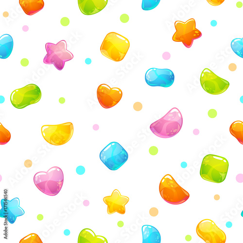 Seamless pattern with funny cartoon jelly candies.