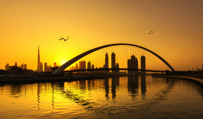 Dubai skyline thru Canal bridge