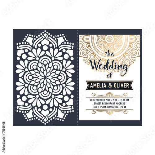 Vector wedding card laser cut template - 171549108