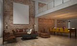 The interior design of living room and sofa set and dining room and brick wall texture / 3D rendering new scene new design