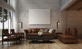 The interior design of lounge and living room and sofa set and brick wall texture / 3D rendering new scene new design