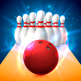 Bowling club poster with the bright background. Vector illustration - 171556905