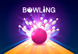 Bowling club poster with the bright background. Vector illustration - 171556958