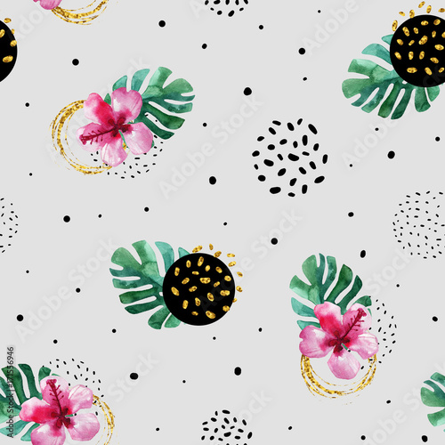 Watercolor exotic flowers and abstract texture circles background. - 171556946