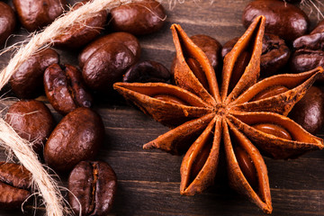 Anise-tree lies on coffee beans
