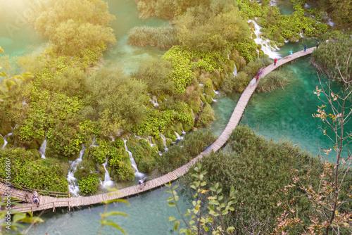 Wall mural Path around Plitvice beautiful lakes